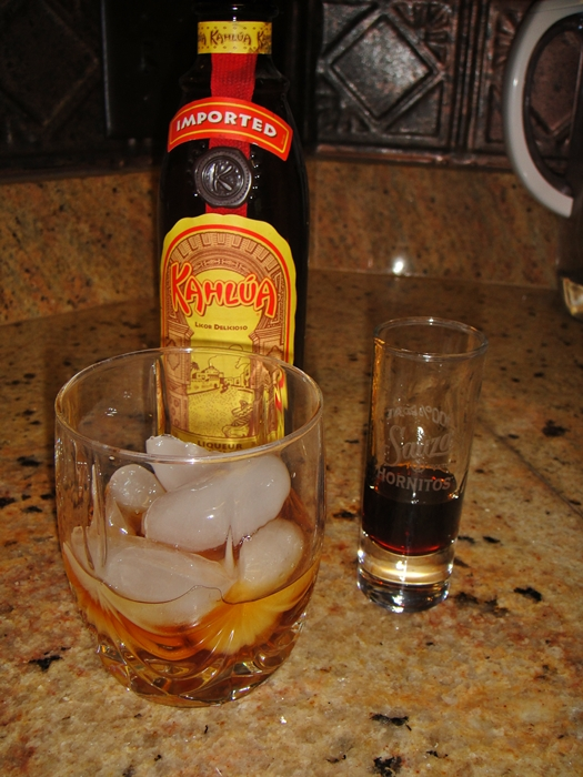 1/4 jigger of Kahlua (which was the last of the bottle)