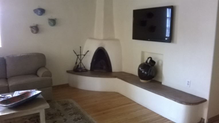 Living Area Kiva fireplace